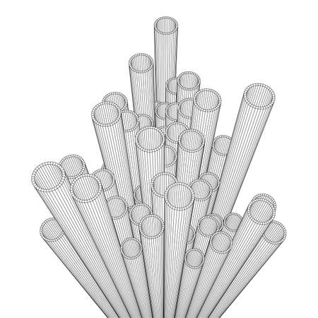 Wireframe metallurgy round tubes Stock Photo