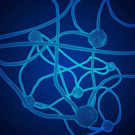 Neuron system wire frame mesh model illustration. Illustration