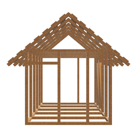 Wooden framing house Stock Photo