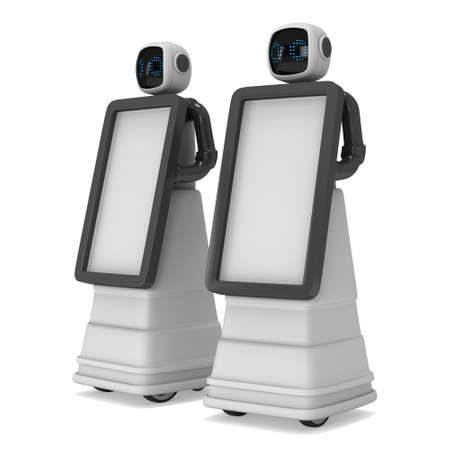 Robot Promoter 3d Stock Photo