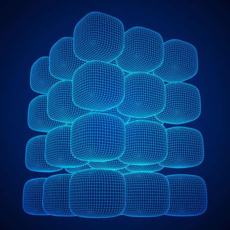Wireframe Mesh Cube. 向量圖像