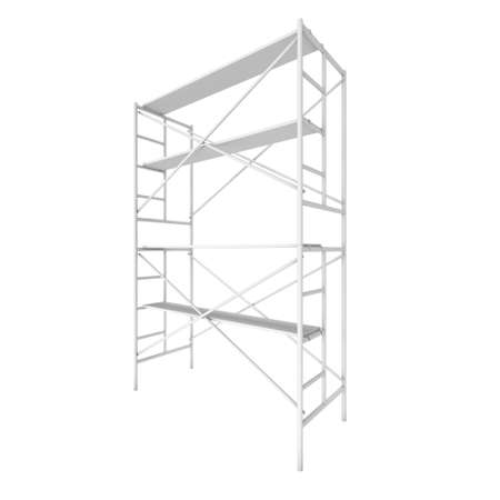 Scaffolding metal construction isolated on white. 3d render illustration