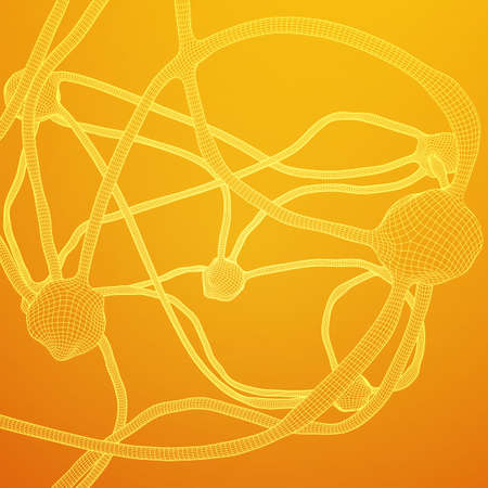 Neuron system wire frame mesh model.