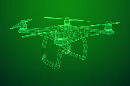 Remote control air drone wireframe illustration.