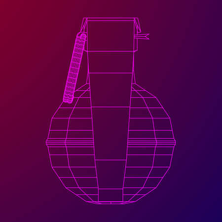 Hand bomb  on linear illustration on colored background.