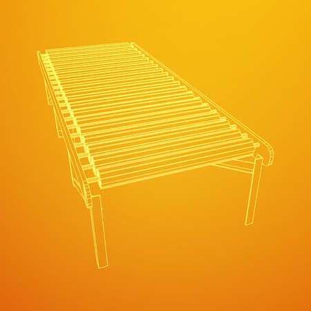 Regular empty roller conveyor section. Wireframe low poly mesh vector illustration.
