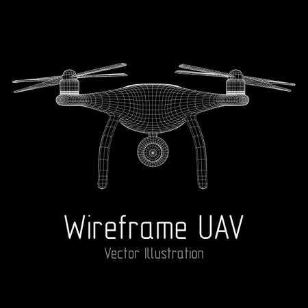 Remote control air drone. Drone flying with action video camera. Wireframe low poly mesh vector illustration.