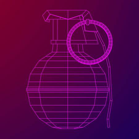 Vector hand bomb illustration on purple background. Illustration