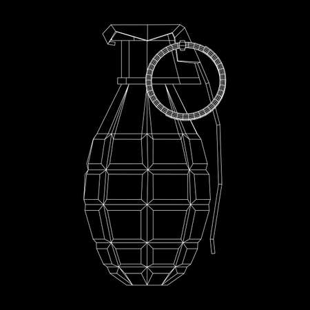 Vector hand bomb on black background.