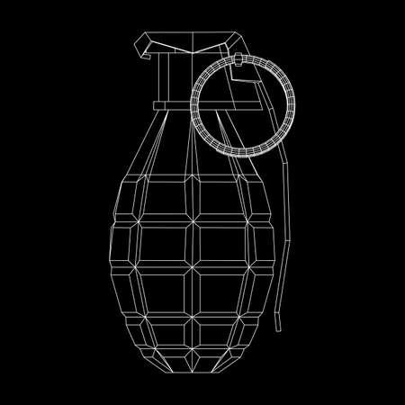 Vector hand bomb on black background.