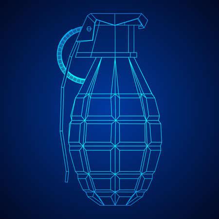 Vector hand bomb illustration on blue background.