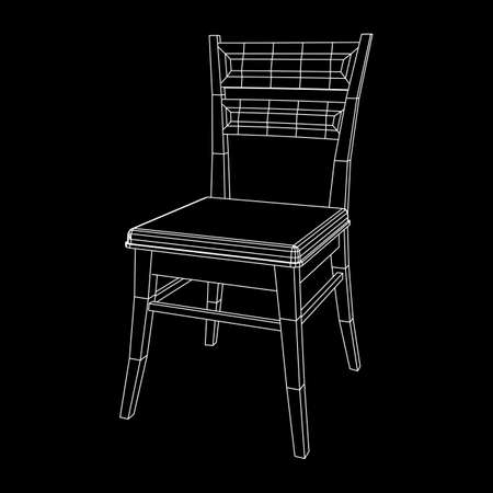 Chair with backrest wireframe