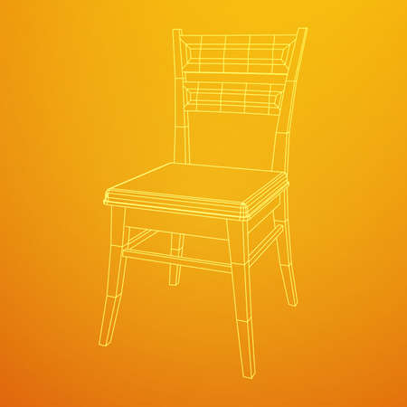 Chair with backrest wireframe.