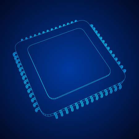 Vector CPU wireframe Illusztráció