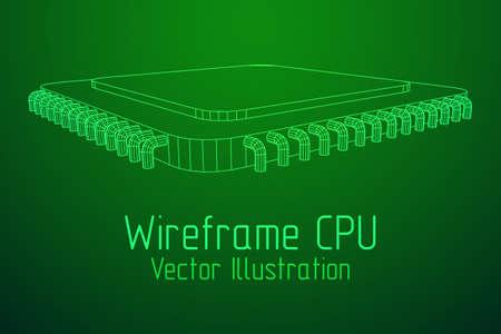 Vector CPU wireframe. Illusztráció