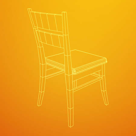 Chair with backrest wireframe low poly mesh vector illustration.