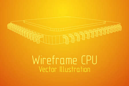 Micro-chip quantum processor, micro-processor with board electronic CPU wireframe low poly mesh vector illustration.