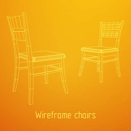 Chair with backrest wireframe vector illustration