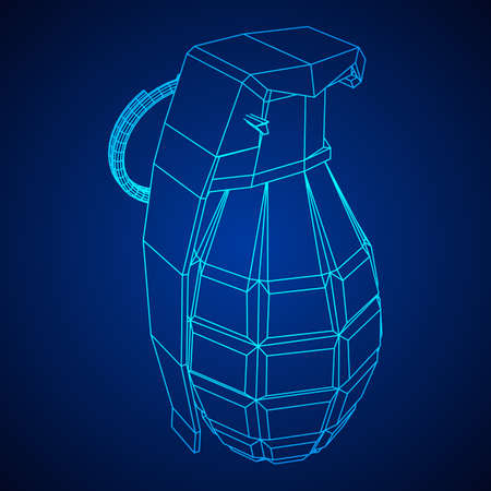 Vector hand bomb illustration on color background.