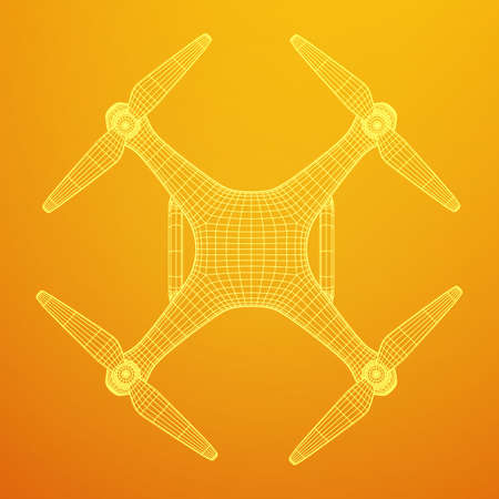 Remote control air drone, wireframe illustration. Illustration