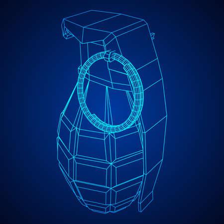 Hand bomb wireframe illustration.