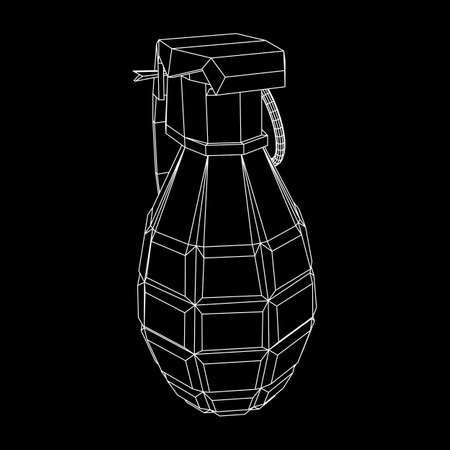 Hand bomb wireframe illustration.