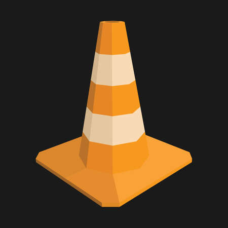 Traffic cone realistic road sign.