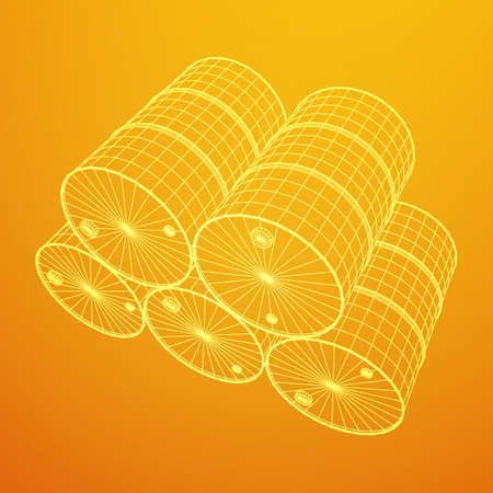 Metal yellow barrel wireframe