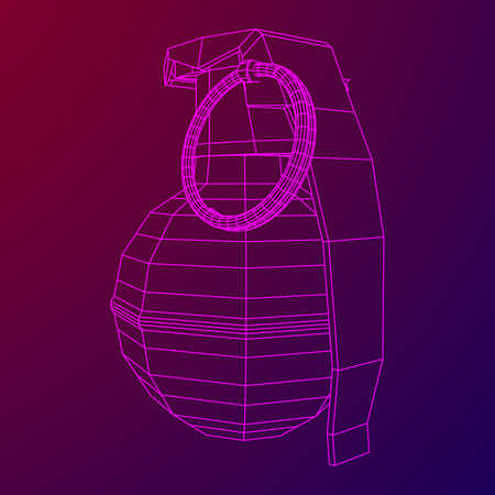 Vector wireframe hand bomb