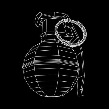 Vector wireframe hand bomb on black background