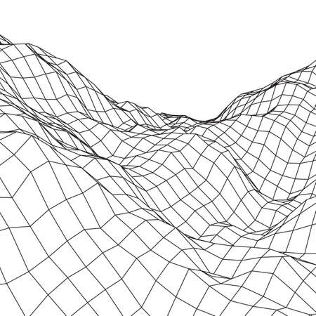 Wireframe terrain background.