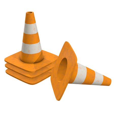 Traffic cone. Road sign 3d