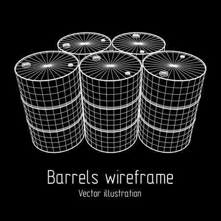 Metal barrel wireframe isolated on plain background.