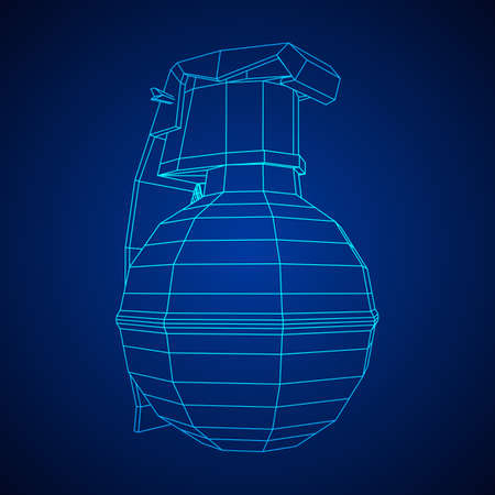 Vector hand bomb illustration on blue background.