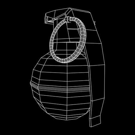 Vector hand bomb illustration on black background.