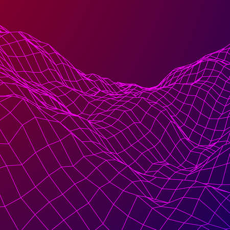 Wireframe terrain background isolated on plain background.