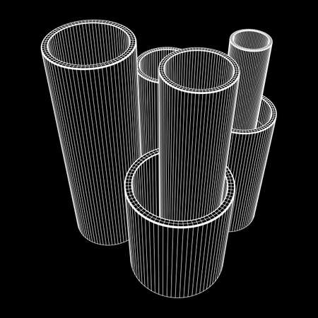 Wireframe metallurgy round tubes Vectores