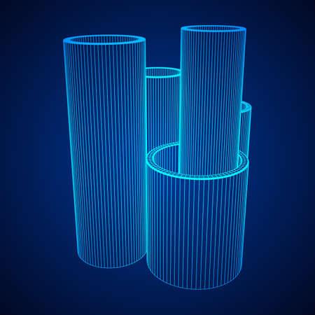Wire-frame metallurgy round tubes illustration on blue background.