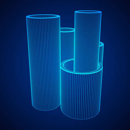 Wire-frame metallurgy round tubes illustration on blue background.