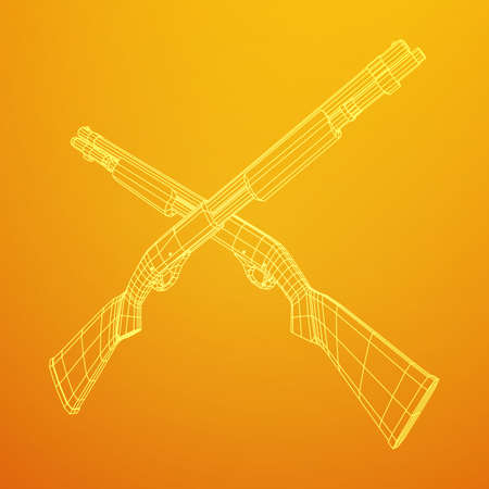 Shotgun rifle hunting carbine wire-frame illustration.