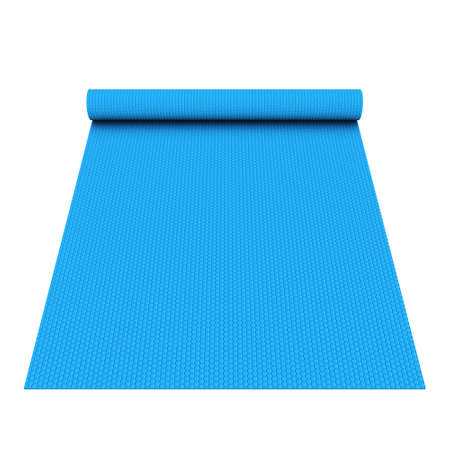 Blue half rolled yoga pilates mat. 3d render isolated on white background. Fitness and health. Exercise equipment.