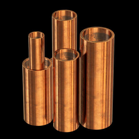 Copper pipes on warehouse. Bronze tubes of different diameters. 3d render illustration on black background.