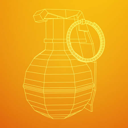 Vector hand bomb illustration on yellow background.
