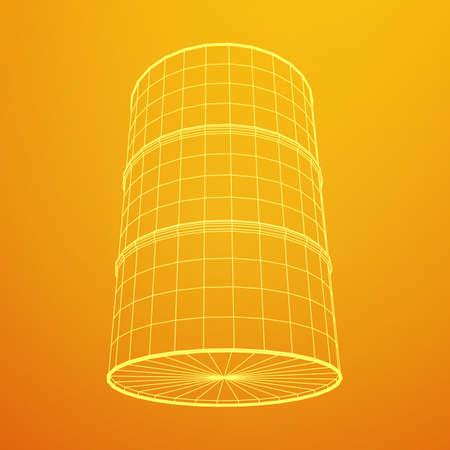 Metal barrel wireframe