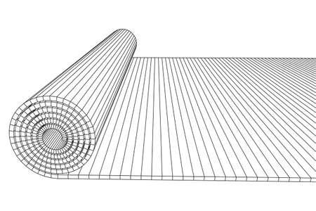 Half rolled yoga pilates mat