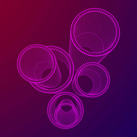 Wireframe metallurgy round tubes Illustration