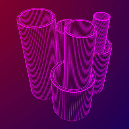 Wireframe metallurgy round tubes 일러스트
