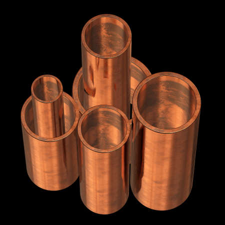 Copper pipes or tubes 스톡 콘텐츠