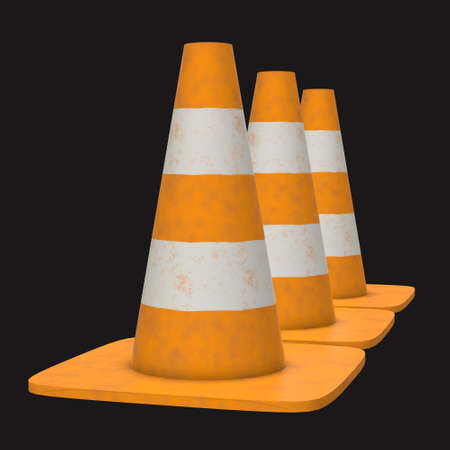 Traffic cone Road sign 3d rendering