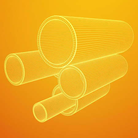 Wireframe metallurgy round tubes vector illustration